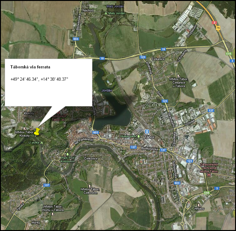 Mapa via ferrata